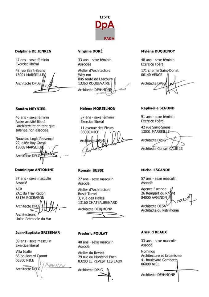 Région PACA - Liste DpA - Élections ordinales 2017