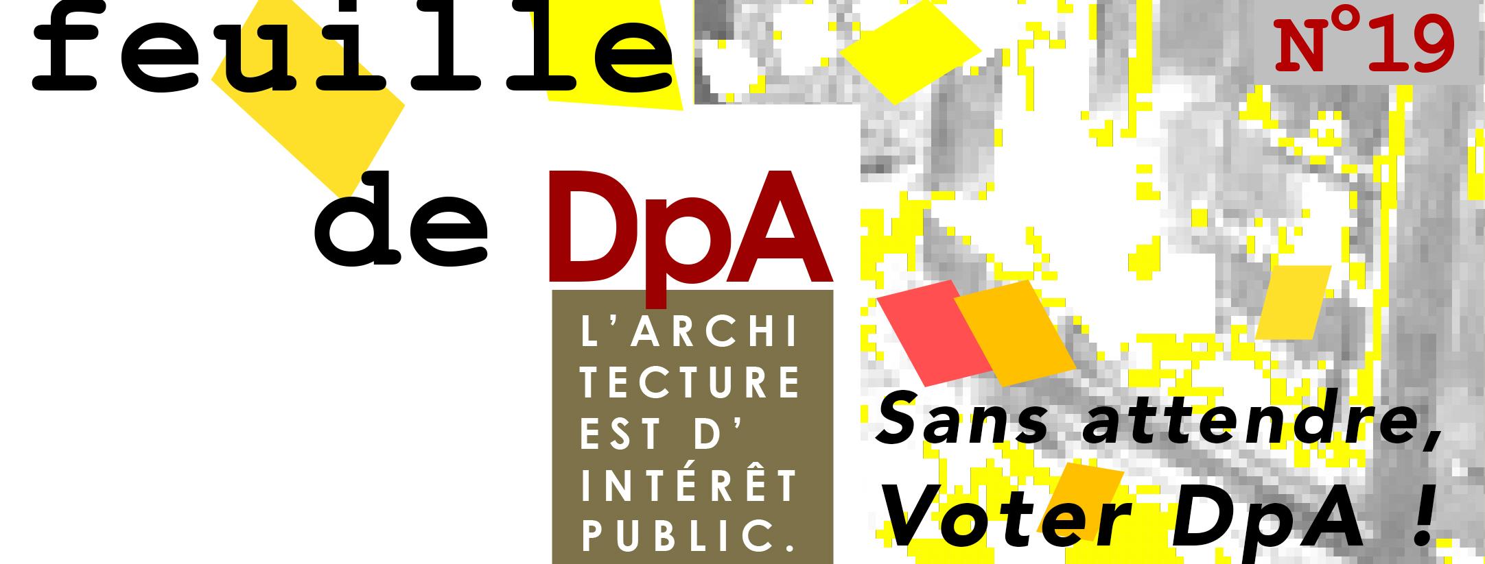 Bandeau Feuille #19 - Sans attendre, Voter DpA !