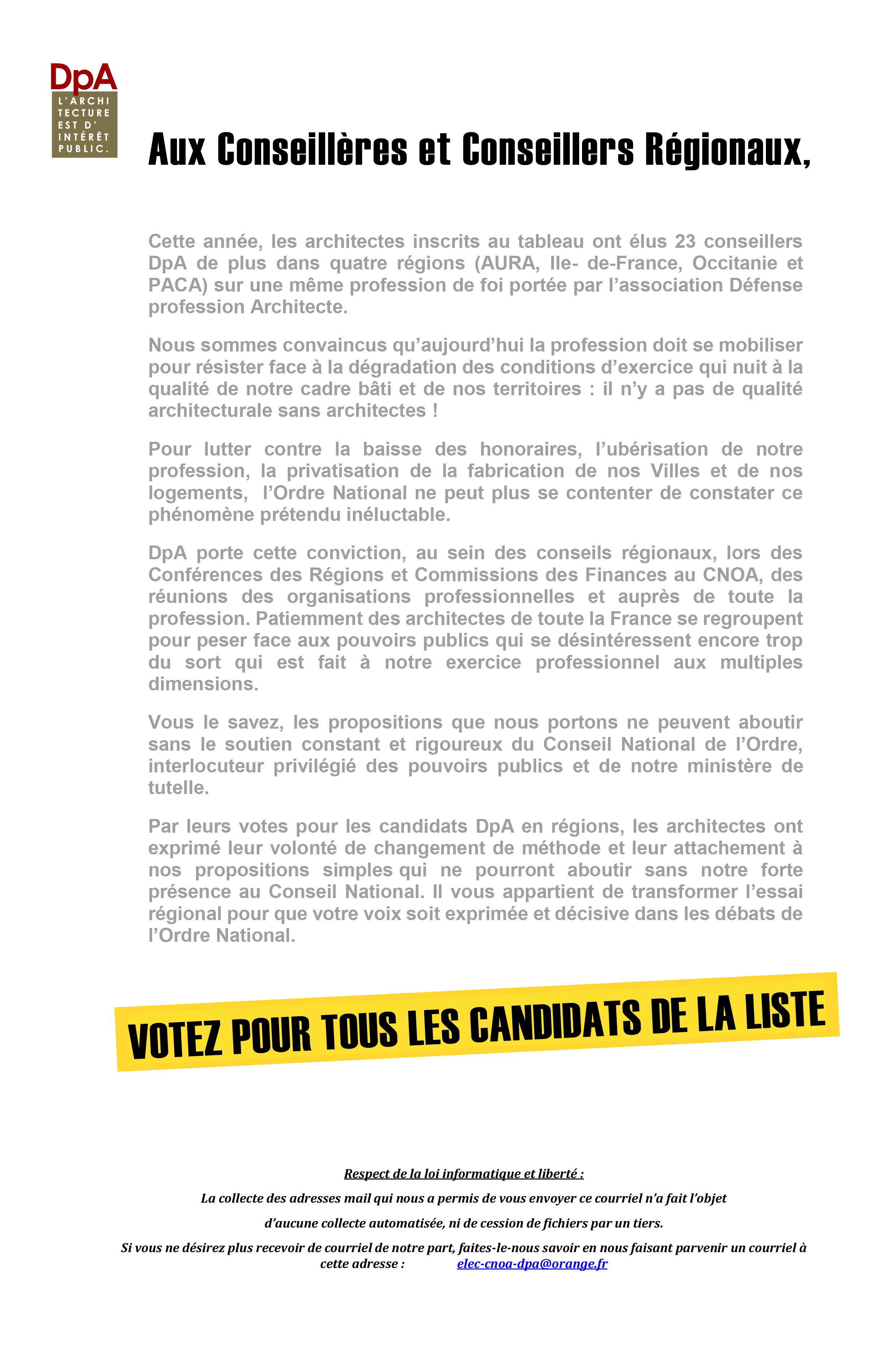 élections Du Cnoa 2017 Lettre Aux Conseillers Défense
