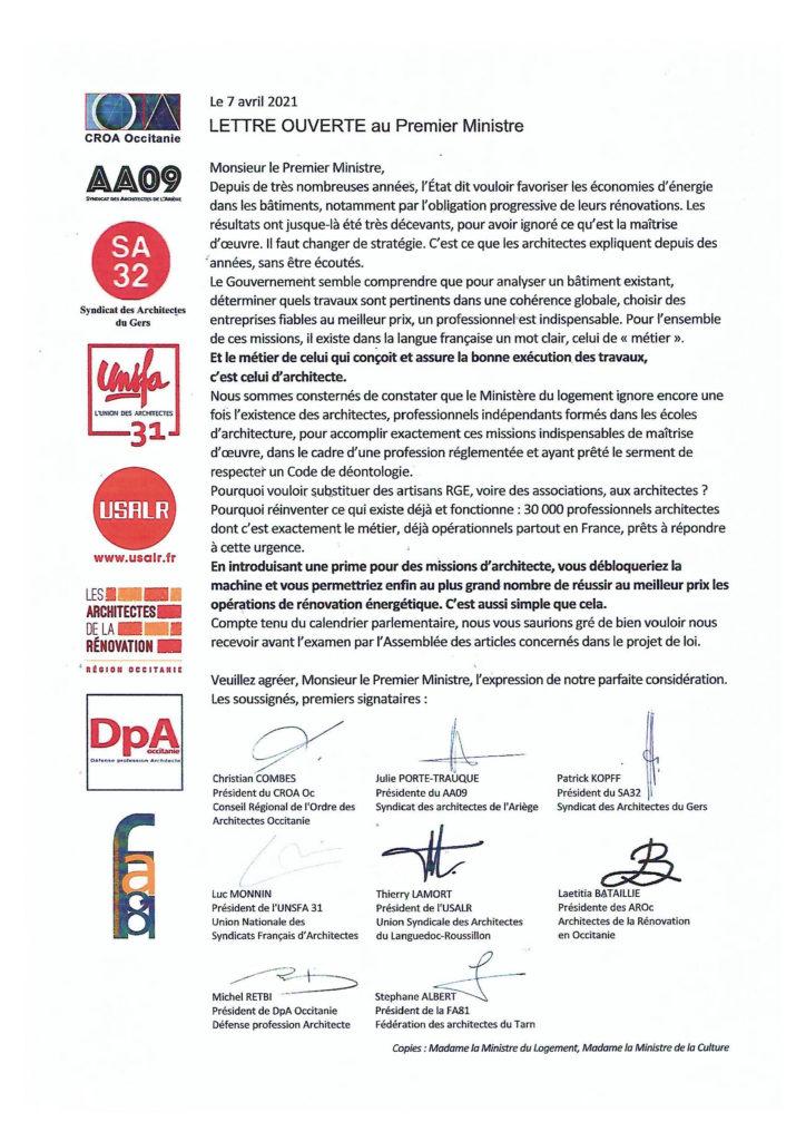 Lettre au 1er ministre - Rénovation énergétique - 07/04/2021