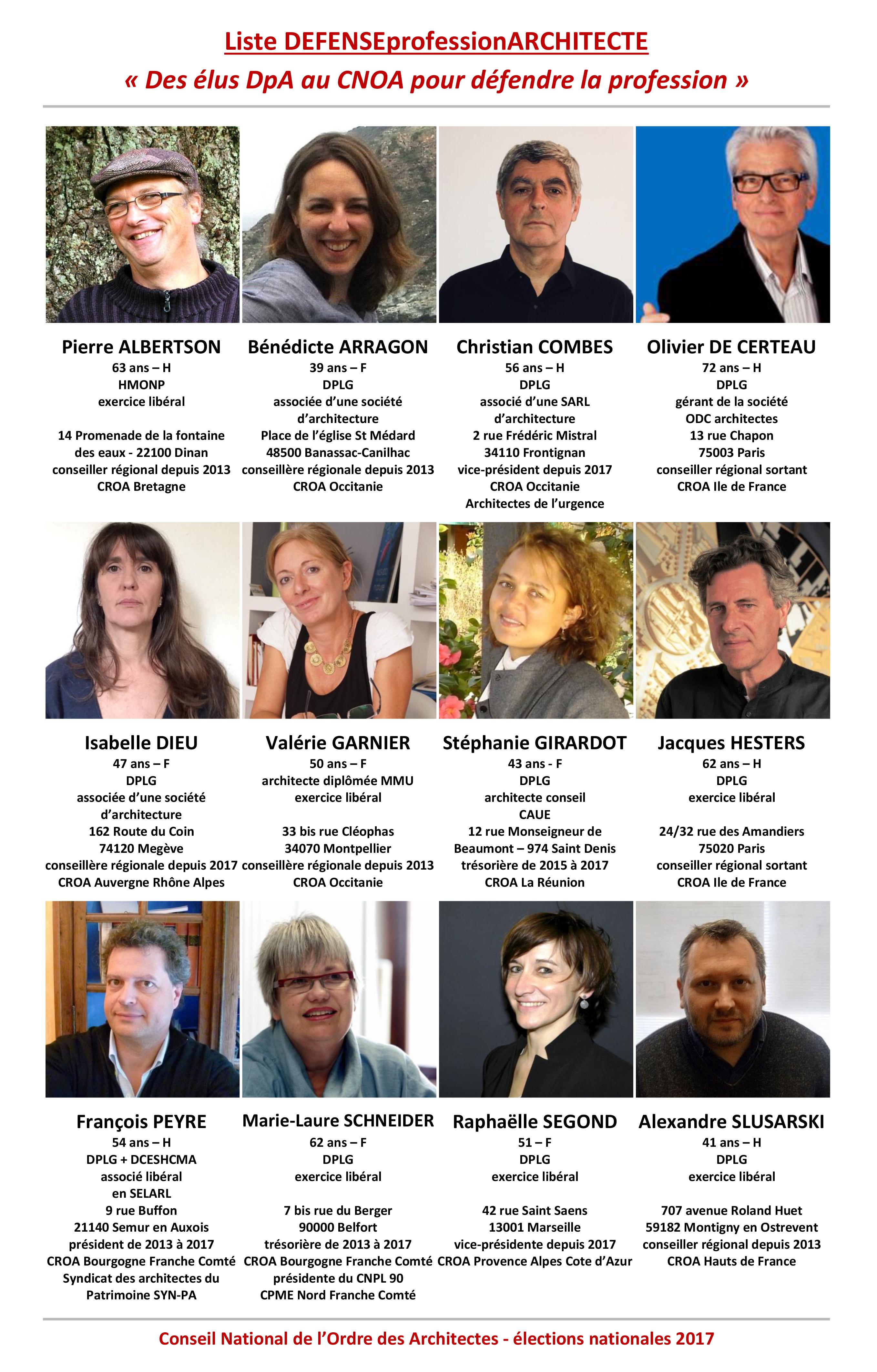 Liste Ordre Des Architectes Élections du cnoa 2017 – liste des candidats dpa   défense
